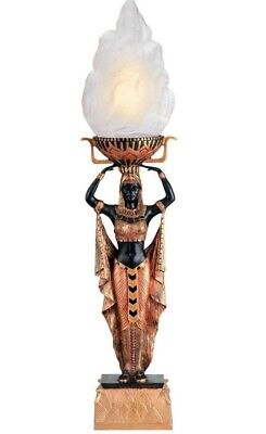 """1920s Egyptian Revival Design Goddess Torch Flame Table Lamp 22"""" Tall"""