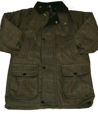 New Kids Children's British Tweed Jacket Quilted Outdoor shooting Farming Coat
