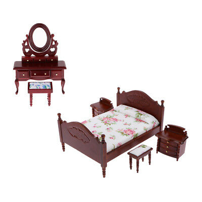 6pcs 1/12 Dollhouse Wooden Dressing Table Bed Stool Set Furniture Accessory
