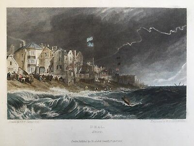 1826 Antique Print; Good size view of Deal, Kent after J.M.W. Turner