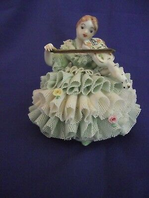 "Celtic Melodic Emerald Collection Porcelain  Figurine 3"" Antique Ireland Music"
