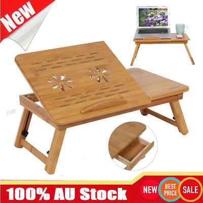 Bamboo Laptop Table Folding Writing Stand Desk Bed Book Reading Tray AU STOCK