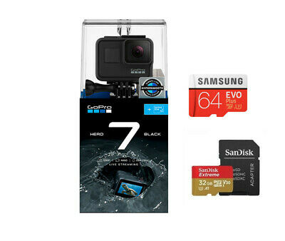 GoPro HERO7 Black Action Video Camera + 64G SD card + 32G SD card bonus bundle