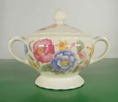Pope Gosser Sugar Bowl with Lid Pink Blue Floral Yellow Flowers