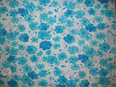 Vintage 50s 60s Matelasse Texturized Cotton Fabric White with Turquoise Flowers