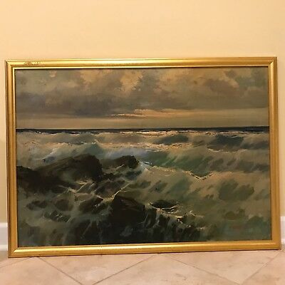 Cliff Freeland (1915-1987) Crashing Waves Seascape Oil on Canvas Painting
