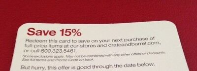 Crate and & Barrel 15% entire order coupon (include furnitures)