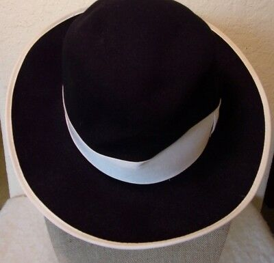 c13f440f752 Bailey of Hollywood 100% Wool Litefelt Fedora Hat XL Made in USA Black    White