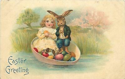 Fantasy Easter~Dressed Rabbit~Blue Suit~Lil Victorian Girl in Egg Shell Boat~BW