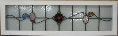 """OLD ENGLISH LEADED STAINED GLASS WINDOW TRANSOM Gorgeous Floral 43.75"""" x 13.25"""""""