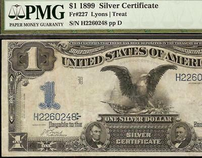 LARGE 1899 $1 DOLLAR BLACK EAGLE NOTE SILVER CERTIFICATE BETTER Fr 227 PMG 25