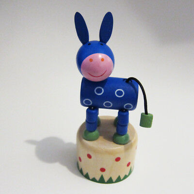 Classic Wooden Toy Push Puppet Blue Donkey w/White Ring Spots Mule Democrat Vote