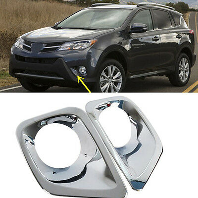 For Toyota RAV4 2013-2015 2PCS ABS Chrome Front Bumper Fog Lamp Covers