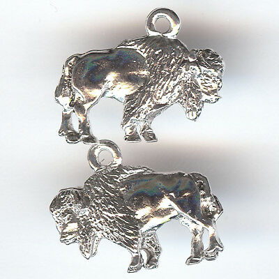 AMERICAN BISON Charm Sterling Silver Plated 3D Standing Buffalo Made in the USA