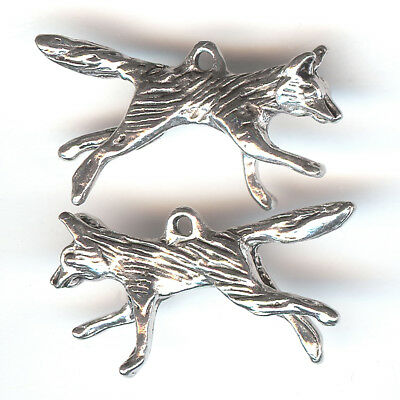 COYOTE FOX WOLF Charm. Pewter. 3D Running Dog. One Charm Only! USA MADE