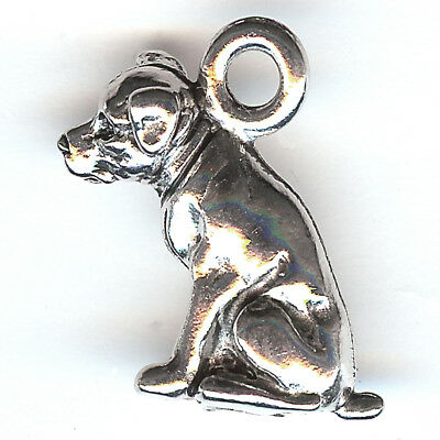 3D American PITBULL DOG Charm Pewter Sitting Staffordshire Bull Terrier USA Made