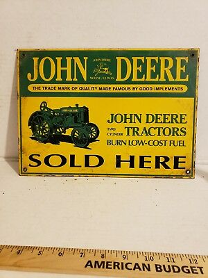 VTG John Deere Sold Here Porcelain Sign