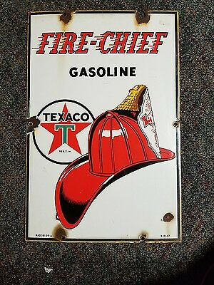 vintage fire cheif gasoline texaco porcelain sign gas and oil