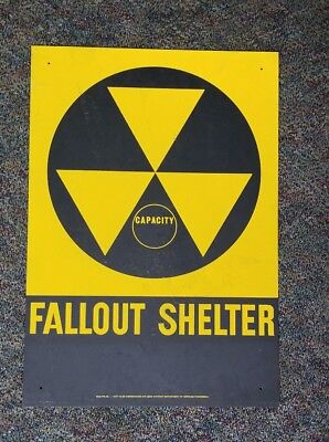 vintage Fallout Shelter tin sign gas and oil