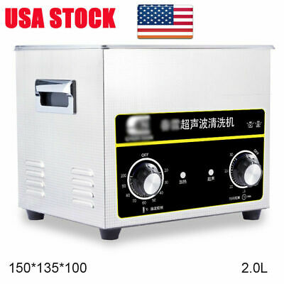 Digital Ultrasonic Cleaner Stainless Jewelry Earring Necklace Cleaning Tank 2.0L