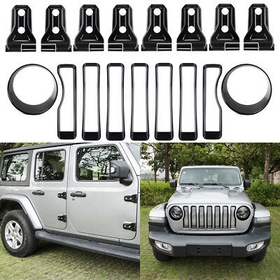 Front Grille Grill + Headlight Trim + Door Hinge Cover Kits For Jeep Wrangler JL