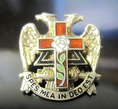 Real 10K Yellow Gold Pin SPES MEA IN DEO EST Freemason Cross Rose double Eagle