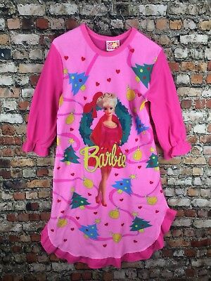 Vintage 90s 80s Barbie Girls Nightgown Pajamas Neon Pink Christmas Holiday 1991