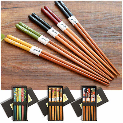 Natural Bamboo Chopstick Set Reusable Japanese Chopsticks 22.5cm (5 Pairs) M1