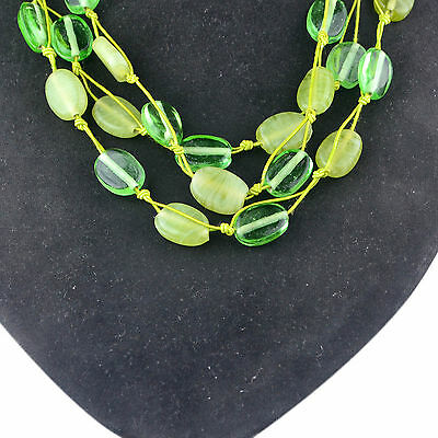 """Green aventurine & Emerald clear quartz synthetic cord Necklace 18"""" Jewelry 81.3"""