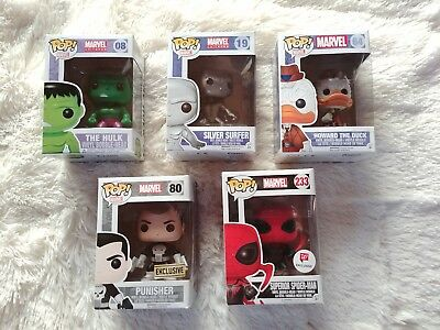 Funko Pop Marvel Lot Hulk Punisher Silver Surfer Howard Duck Superior Spider Man