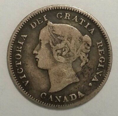 1900 Canada 5 Cents 5C World Silver Coin Free Shipping!
