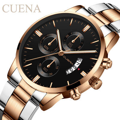 CUENA Men Fashion Military Stainless Steel Analog Date Sport Quartz Wrist Watch