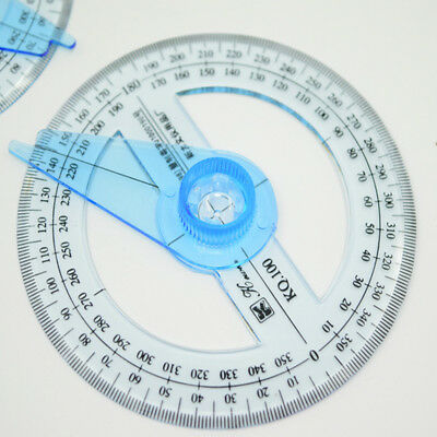 Circular Plastic 360 Degree Pointer Protractor Ruler School Office Tool Supplies