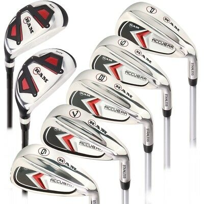Ram Golf Accubar Mens Right Hand +1 Inch Iron Set 5-6-7-8-9-PW - HYBRID INCLUDED