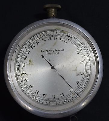 Old Antique Original Surveying Aneroid Compensated Brass Barometer Collectible 3
