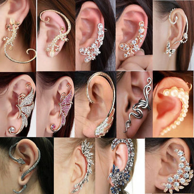 Fashion Jewelry Crystal Clip Ear Cuff Stud Women's Punk Wrap Cartilage Earrings