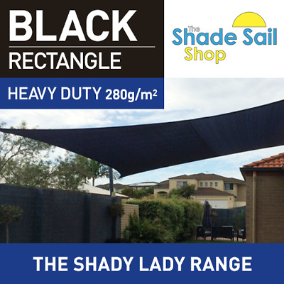 Rectangle BLACK 3.5m X 4m Shade Sail Sun Heavy Duty 280GSM Outdoor BLACK 3.5X4M
