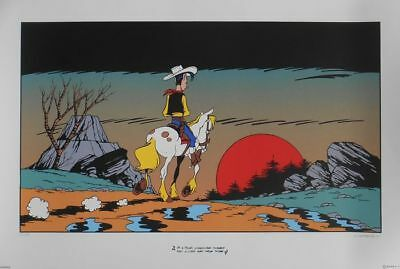 """Morris -  Lucky Luke - Signé ! """"I'm a poor lonesome cow-boy ..."""" -"""