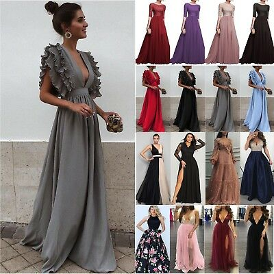 Women Lace Sequin Evening Party Ball Prom Gown Formal Cocktail Wedding Dress UK