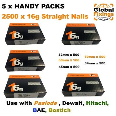 5 x Handy Packs -  MIXED 2500, 16g STRAIGHT for Dewalt, Paslode, Hitachi Nails
