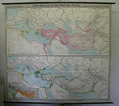 Schulwandkarte Beautiful Old Greece Antique 210x194cm 1965 Vintage Map Greece