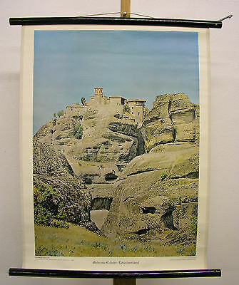 Nice Old Wall Picture Meteora Convent Climbing Greece 55x72 Vintage~1960