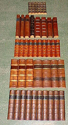 Antique leather-bound book spines faux false fake replica approx 2 linear mtrs