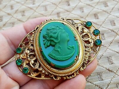 Vintage Old Antique Ladies Large Brass Green Gemstone Carved Cameo Brooch Pin