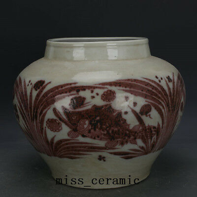 Antiques Amazing China Antiques Red Underglaze Porcelain Pot With Fish And Water-weeds Asian Antiques