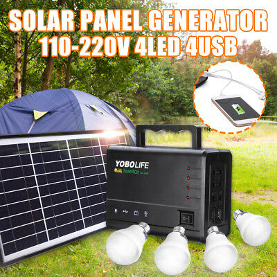 Solar-Panel Power Generator LED Lighting System Kit USB-Ladegerät 4 LED Lampen