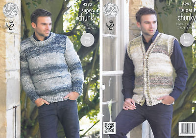 ed8d03bffbbae5 King Cole Mens Super Chunky Knitting Pattern Easy Knit Jumper   Waistcoat  4293