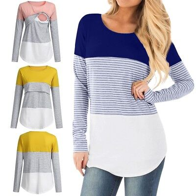 Pregnant Nursing Baby Maternity Long Sleeve Striped Blouse Women Mom Clothes Top