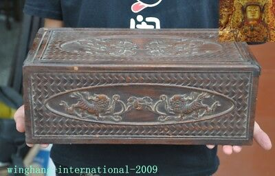 Chinese Huanghuali wood hand carved lion Foo dog beast statue Jewelry Box boxes