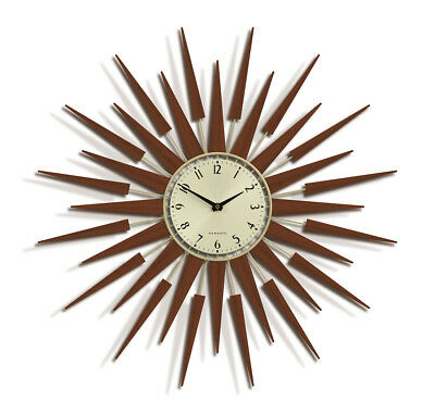 NEWGATE CLOCKS Starburst Mid Century Wood Gold Large Wall Dial Clock Dining Room